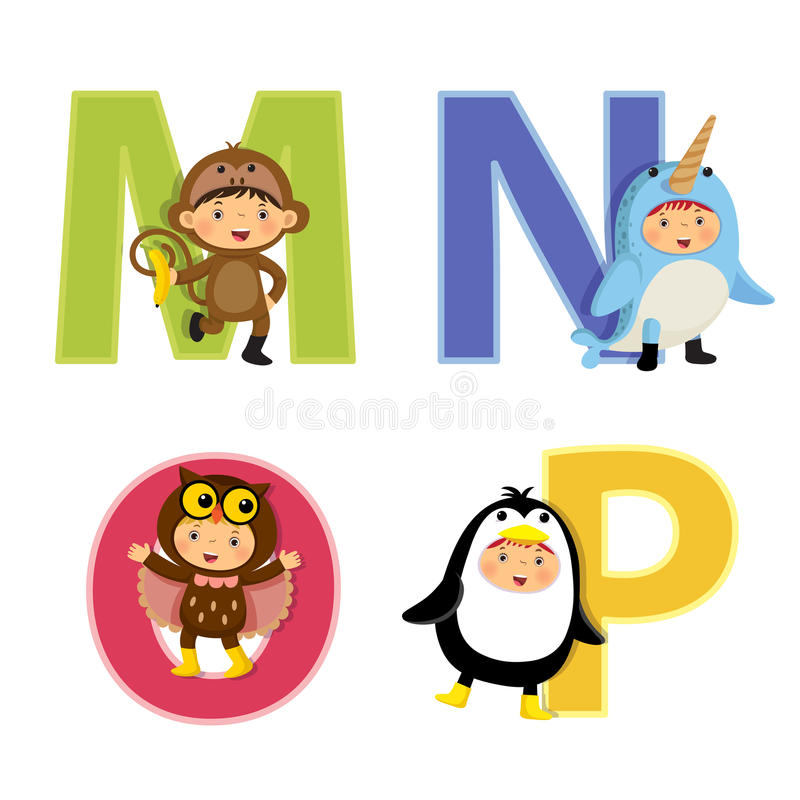 English alphabet with kids in animal costume, M to P letters. Set of English alphabet with kids in animal costume, M to P letters stock illustration