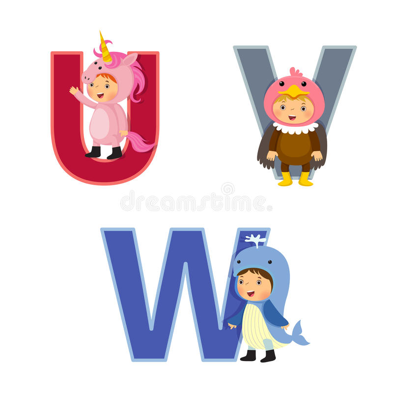 English alphabet with kids in animal costume, U to W letters. Set of English alphabet with kids in animal costume, U to W letters royalty free illustration