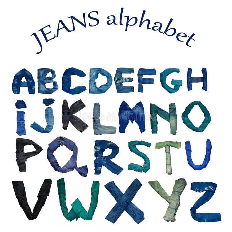 The English alphabet is laid out from letters consisting of jeans clothes of various shade. Isolated English alphabet is laid out from letters consisting of vector illustration
