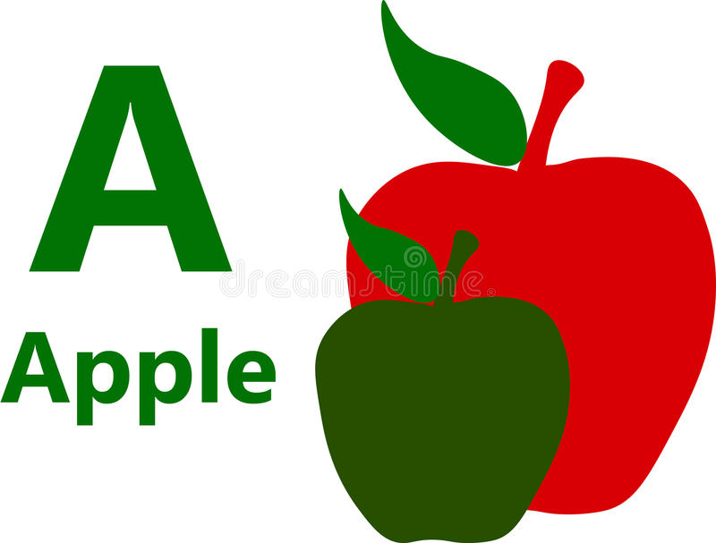 English alphabet letter A for Apple royalty free stock photos