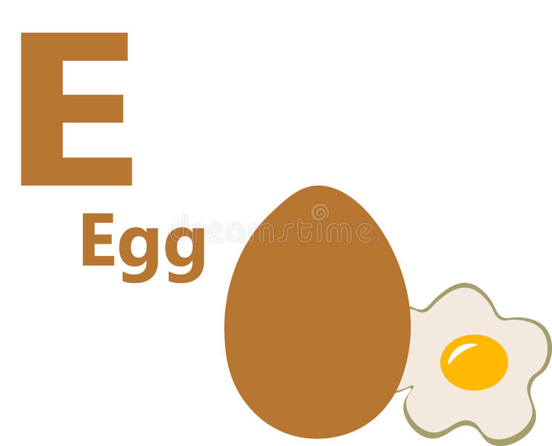 English alphabet letter e for egg royalty free stock image