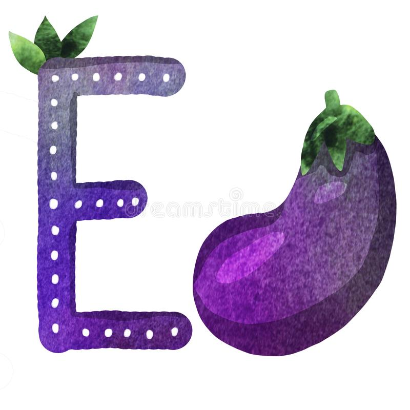 English alphabet letter E stock illustration