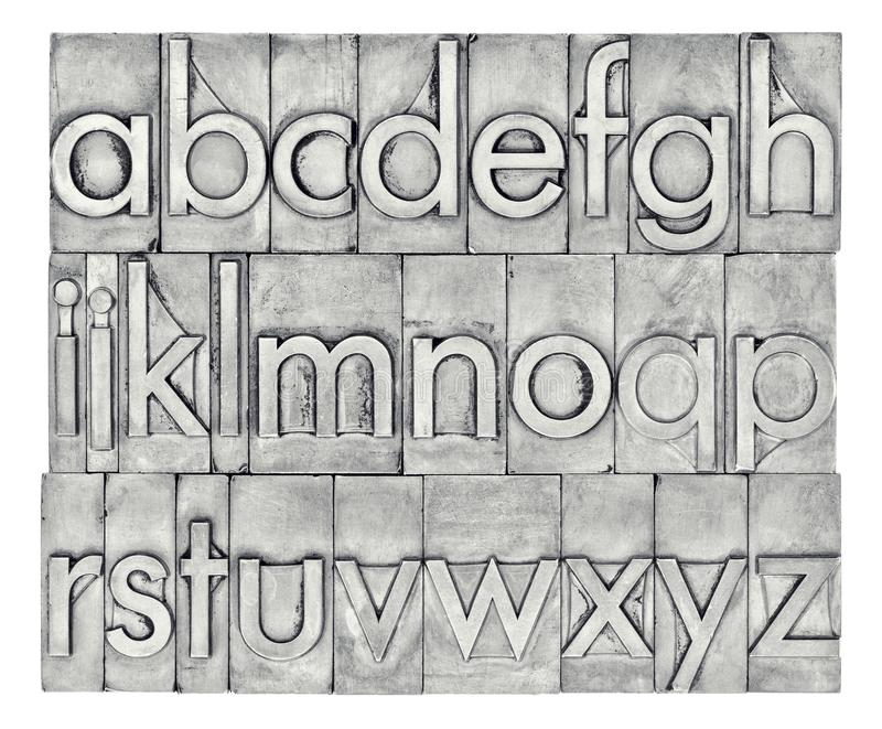 English alphabet in letterpress metal type stock photos