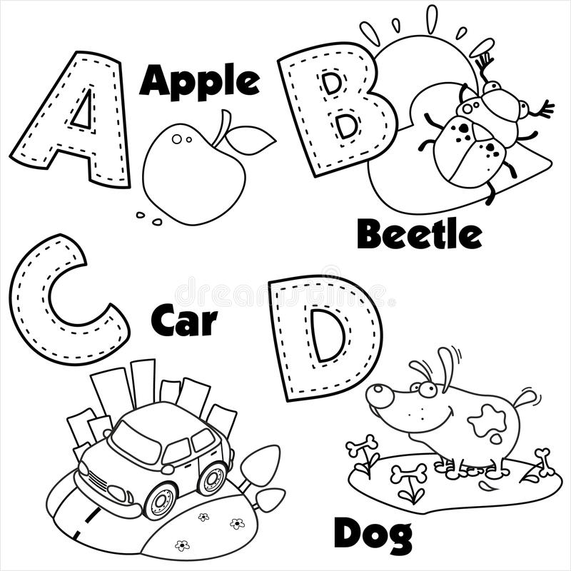english alphabet and the letters a  b  c and d stock vector