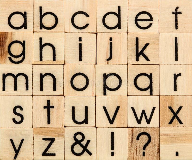 English alphabet lowercase, background of isolated wood letterpress printing blocks royalty free stock image