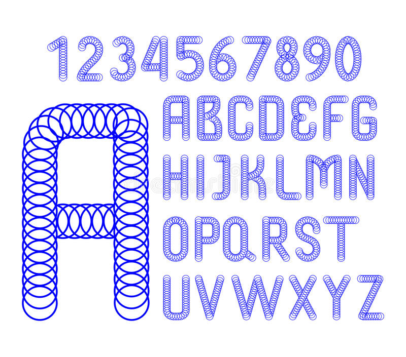 English alphabet and numbers of blue circles royalty free illustration