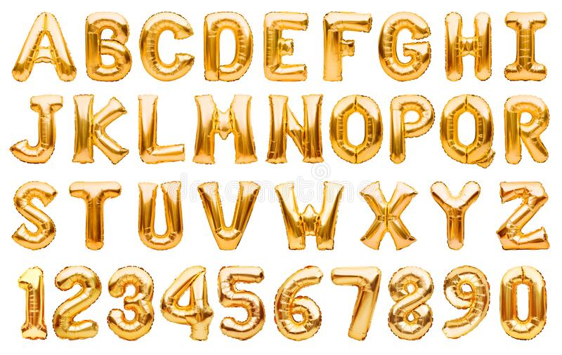 English alphabet and numbers made of golden inflatable helium balloons isolated on white. Gold foil balloon font, full alphabet. Set of upper case letters and royalty free stock images