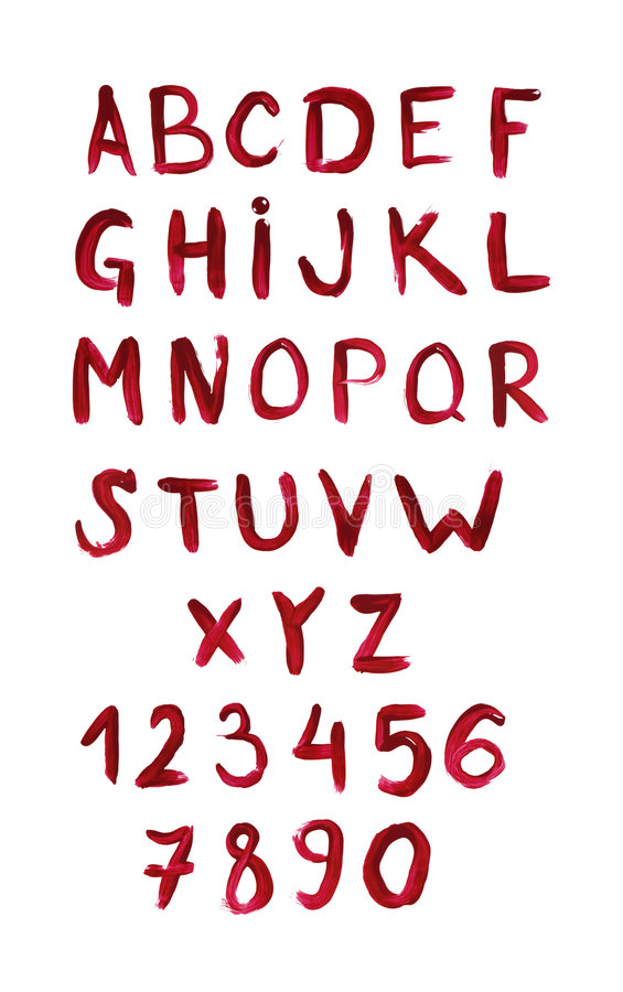 Download English Alphabet Painted With Red Paint Stock Illustration - Illustration: 7055481