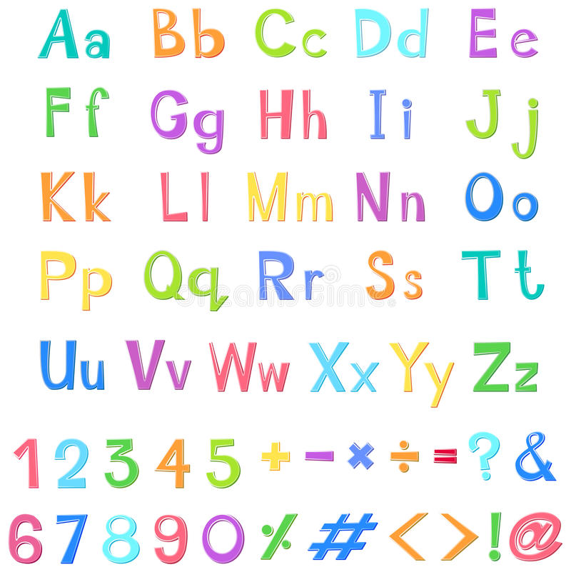 English alphabets and numbers in many colors. Illustration vector illustration