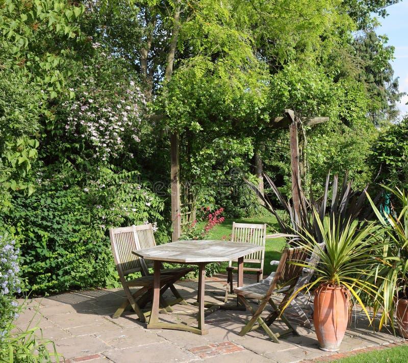 Patio area of an English back Garden royalty free stock photo