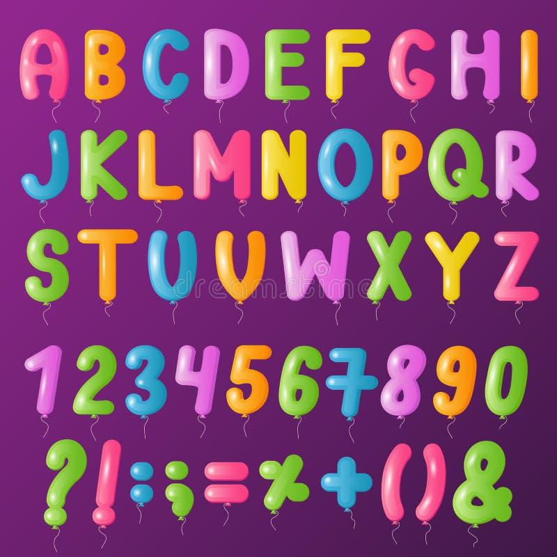 Balloons Text Alphabet Vector Symbols Letters Big Set Cartoon Stock