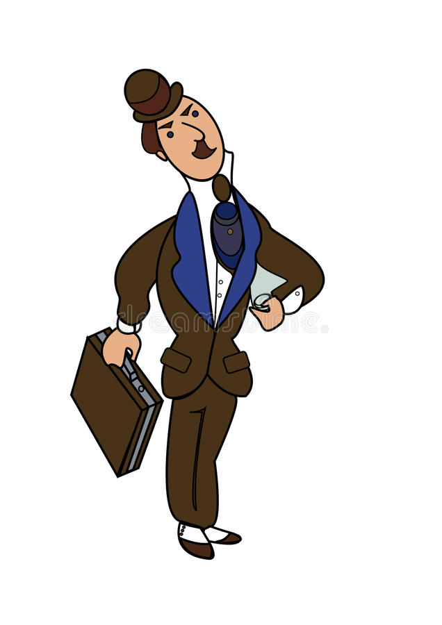 Man. English banker with mustache, briefcase, folded newspaper,stripes tie, derby hat and spat shoes in blue and brown vector illustration