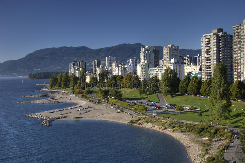English Bay Beach and west end, Vancouver BC. View of English Bay Beach and west end, Vancouver BC royalty free stock images