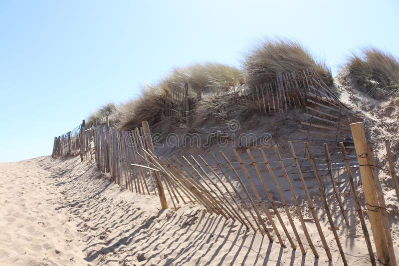 English beach scene. With sun, sand and sea stock photography