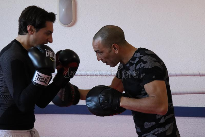 English boxing training at the gym royalty free stock photos