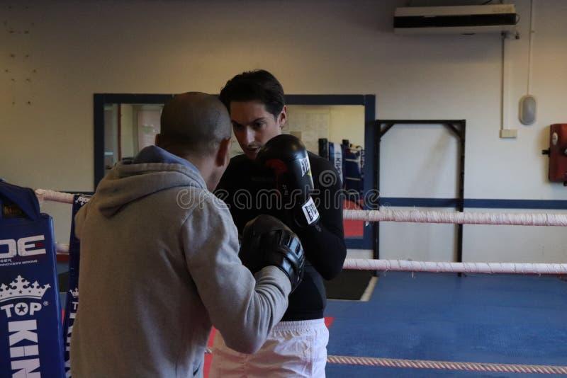 English boxing training at the gym royalty free stock image