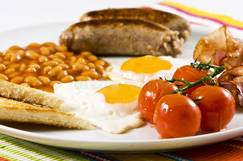 English Breakfast. Served on white plate stock photography