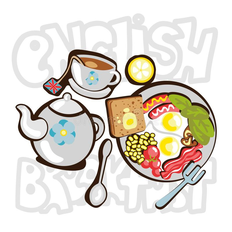 English Breakfast cartooning illustration. English breakfast fun objects, icons with deroration elements - teapot, cup. Plate with food. Traditional English vector illustration