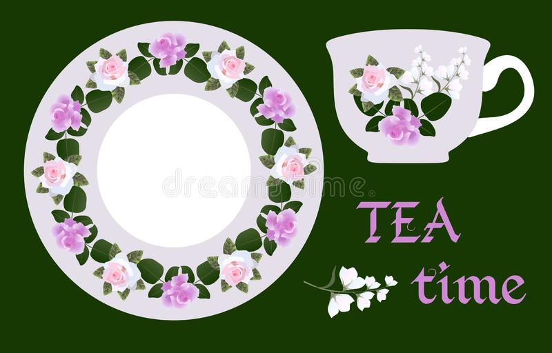 English breakfast. Vector illustration with cup of tea and hand drawn floral ornament on saucer. Rose and bell flowers. On light gray background vector illustration