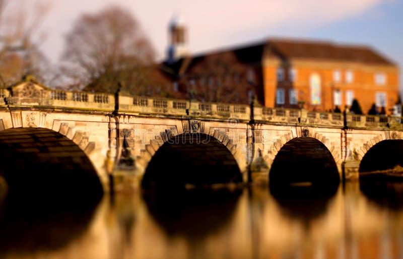 English Bridge in Shrewsbury. Tilt and shift photograph of the English Bridge spanning the River Severn in Shrewsbury, Shropshire stock photos