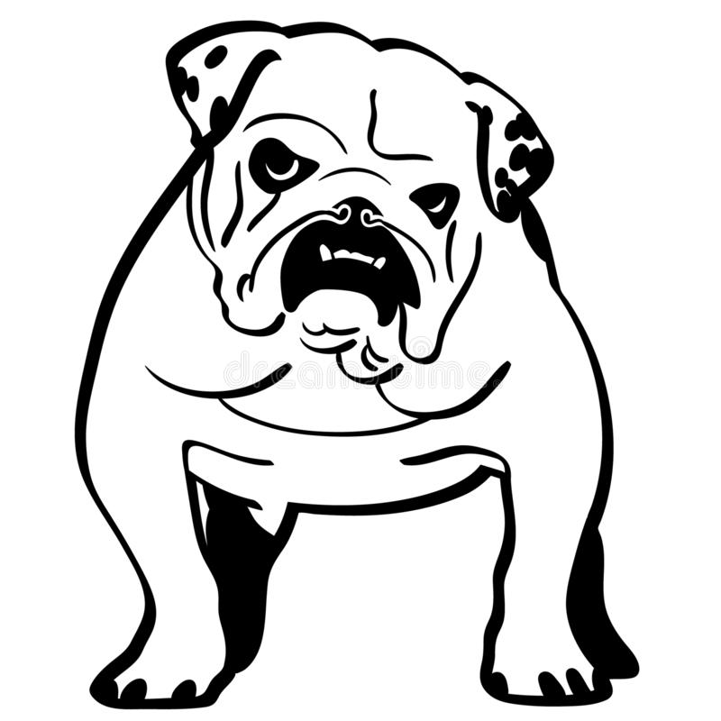 English bulldog Hand drawn Crafteroks svg free, free svg file, eps, dxf, vector, logo, silhouette, icon, instant download, digital. English bulldog eps, Hand stock illustration