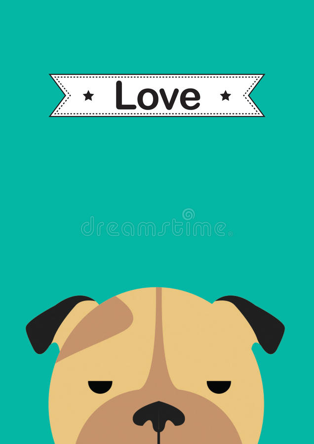 English Bulldog love. A4 poster, Illustration of a English Bulldog with Turquoise background vector illustration