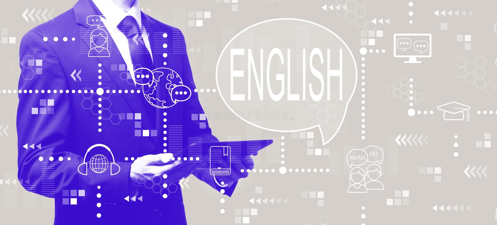 English with businessman holding a tablet. Computer royalty free illustration