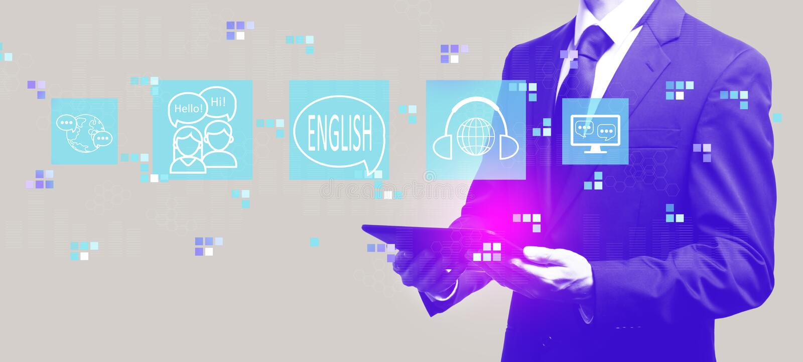 English with businessman holding a tablet. Computer stock illustration