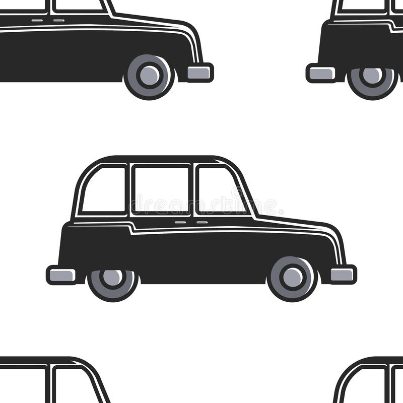 English cab seamless pattern car or taxi London symbol royalty free illustration
