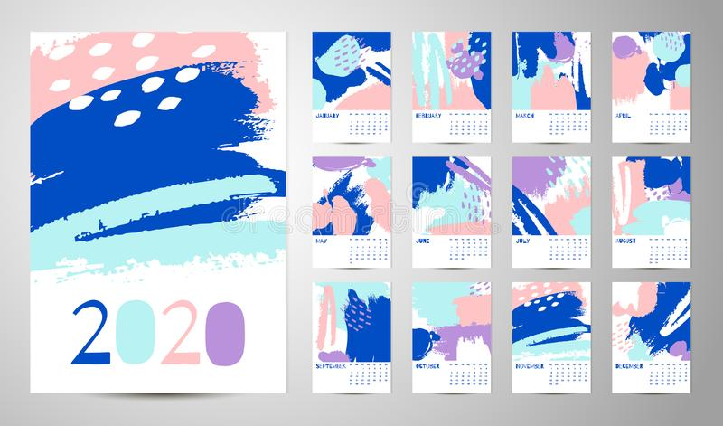 2020 English Calendar Abstract Vector stock illustration