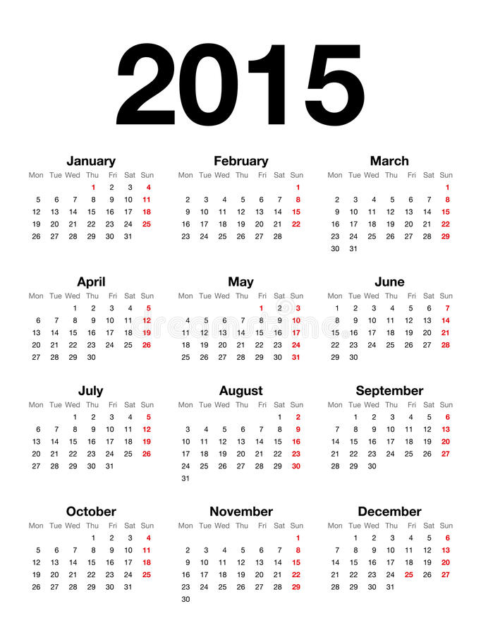 English Calendar for 2015. Extremely carefully designed calendar for 2015 in english language isolated on white background. Starts Monday, Helvetica font used