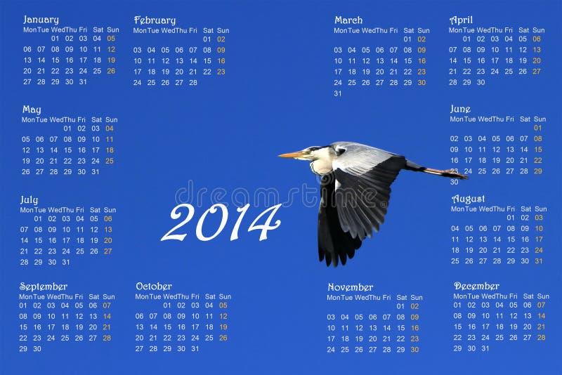 English 2014 calendar with heron in flight. English 2014 calendar with great heron flying across a deep blue sky by sunrise vector illustration
