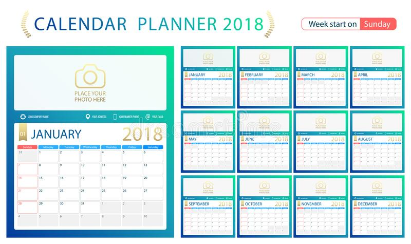 English Calendar Planner For Year 2018 Week Start Sunday Set Of 12