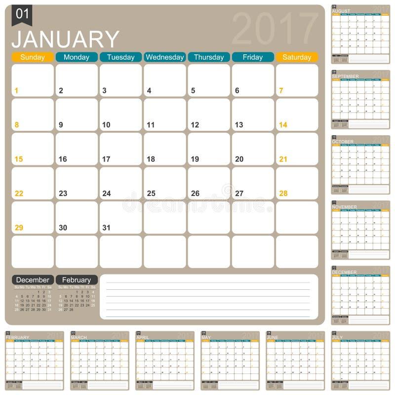 English Calendar 2017 royalty free illustration