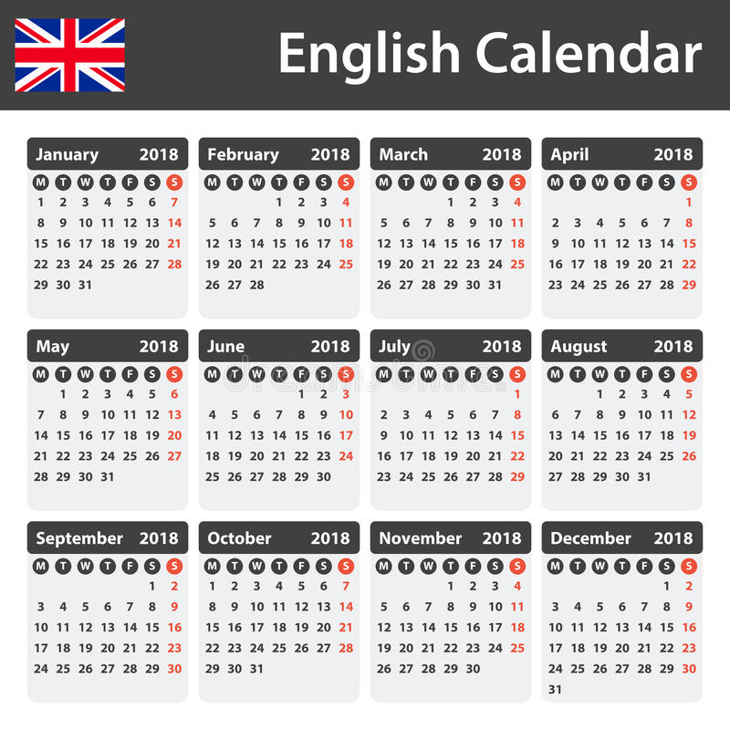 English Calendar For 2018 Scheduler Agenda Or Diary Template Week