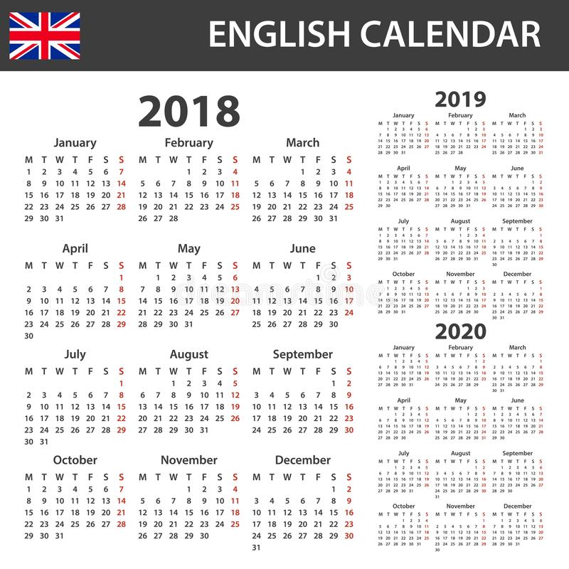 English Calendar for 2018, 2019 and 2020. Scheduler, agenda or diary template. Week starts on Monday.  vector illustration