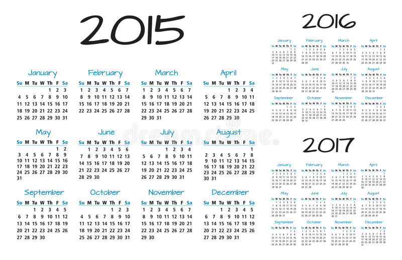 English Calendar 2015-2016-2017 vector stock illustration