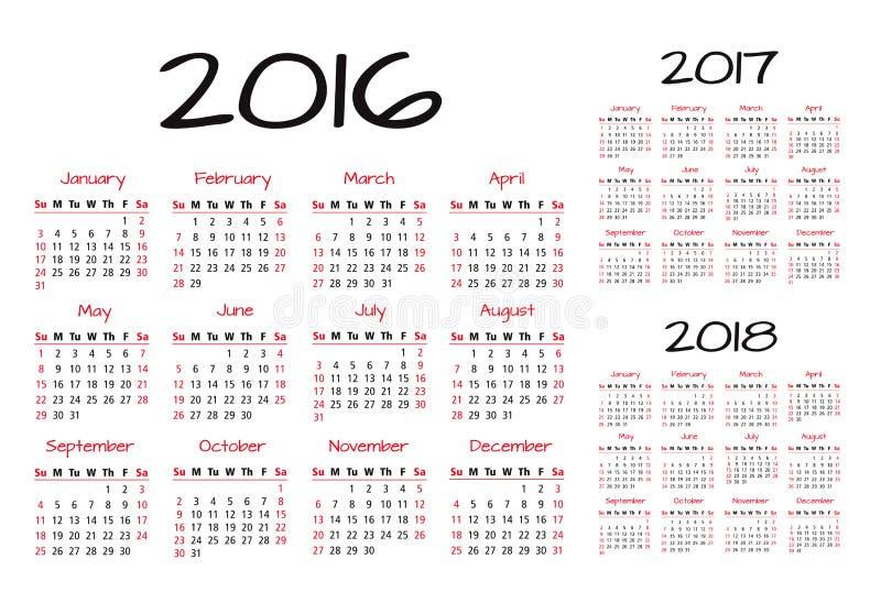 English Calendar 2016-2017-2018 vector illustration vector illustration