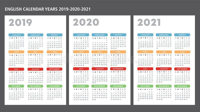 English calendar 2019-2020-2021 vector template vector illustration