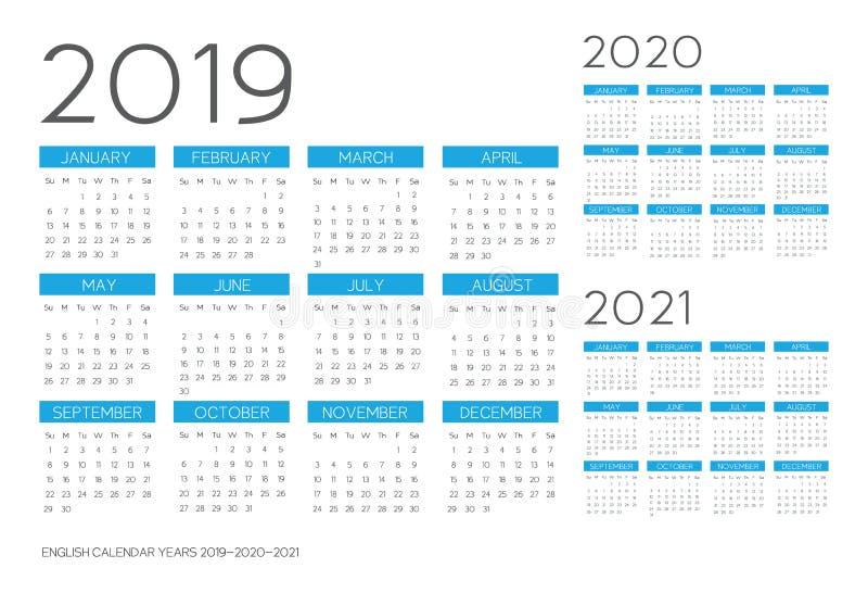English Calendar 2019-2020-2021 vector vector illustration