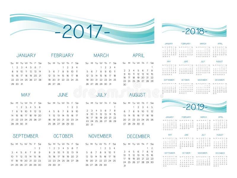 English Calendar 2017-2018-2019 vector stock illustration