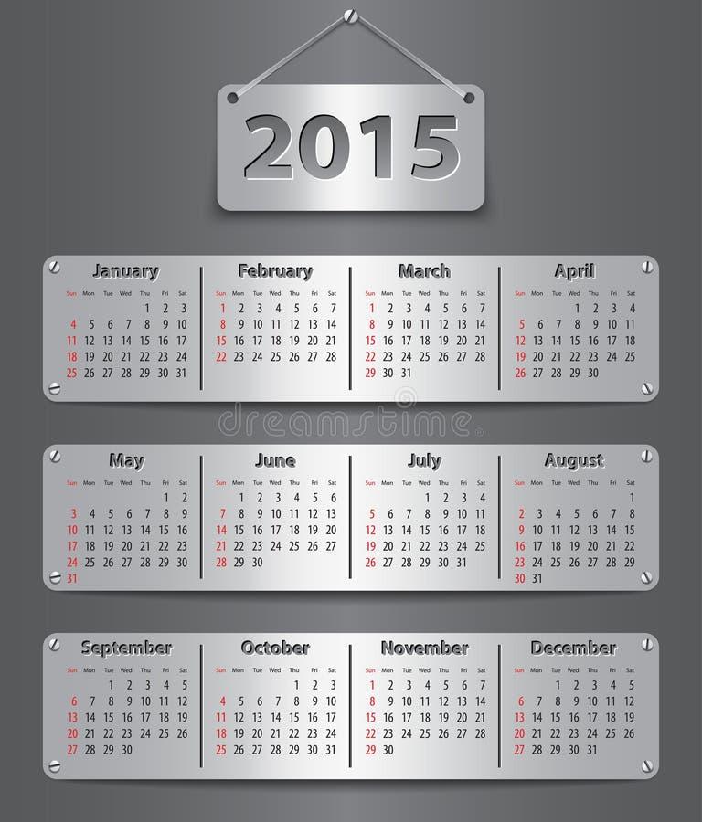 2015 English calendar vector illustration