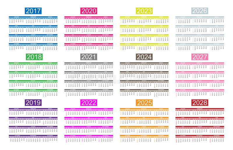 calendar of the years
