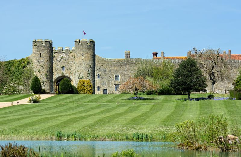 English Castle in Amberley, Sussex, UK. Amberley Castle, recorded in the Doomsday Book as Amberley, is rich in history, and to this day, still obtains many of stock image