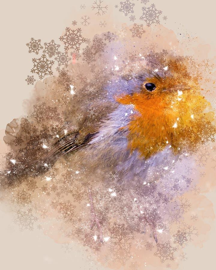 Christmas Robin, Digital Watercolour & Photograph royalty free stock image