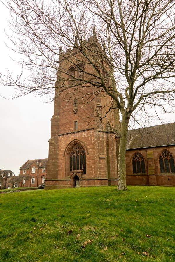 English Church, St Leonards, Bridgnorth, Shropshire. A view of St Leonards Church near Bridgnorth twon center, as seen from Church Strret stock photography