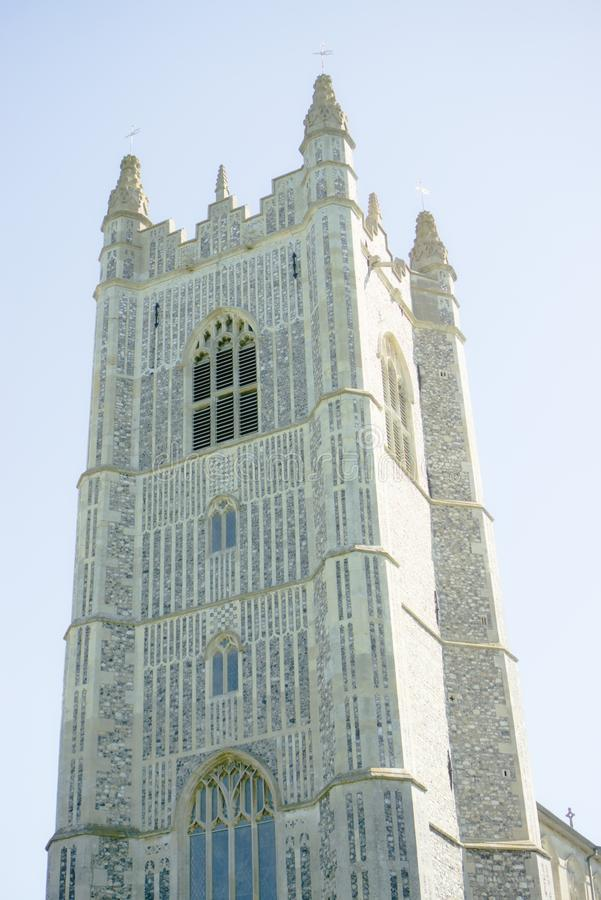 English church tower at Redenhall. The Church of the Assumption of the Blessed Virgin Mary tower which looks down on the surrounding villages in Norfolk UK royalty free stock image