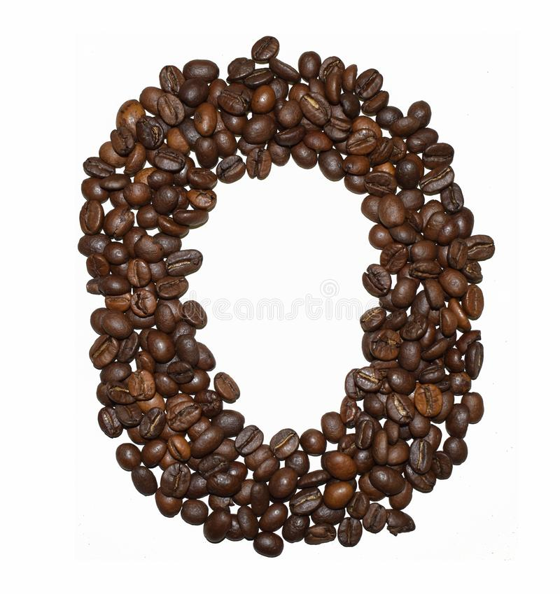 Сoffee letter - O. English Coffee Alphabet isolated on white. Roasted coffee beans. Ð¡offee letter - O, word, object, font, arabica, background, drink royalty free stock images
