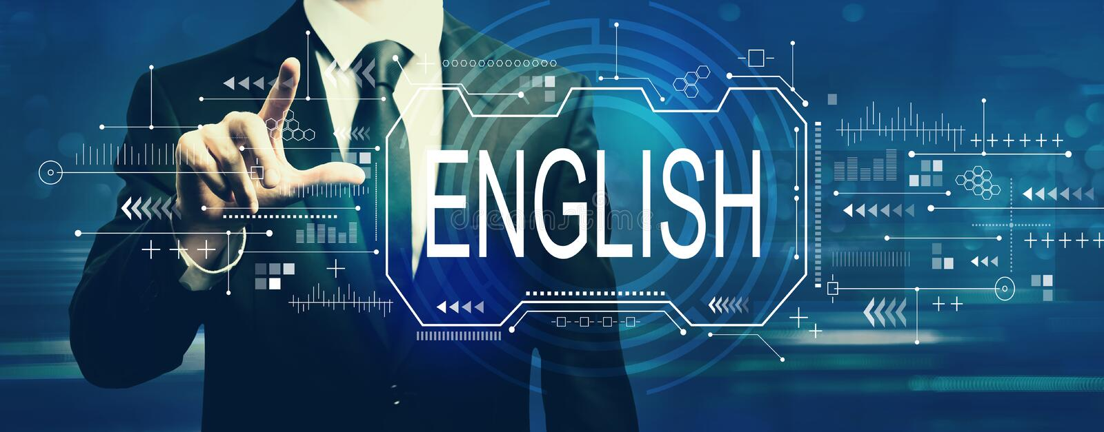 English concept with businessman royalty free stock photography