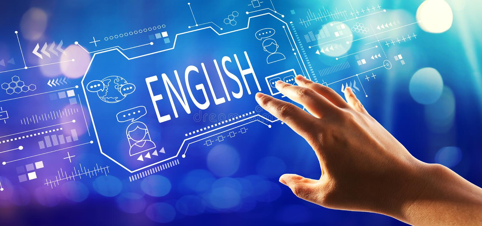 English concept with hand pressing a button royalty free stock images